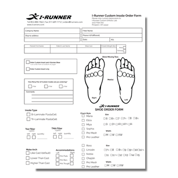 Custom Insole Order Form